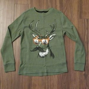 Awesome cool deer waffle pattern olive shirt